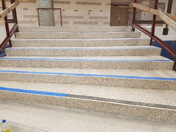 here are a few photos of the terrazzo stair process at harlan high school - Terrazzo Flooring